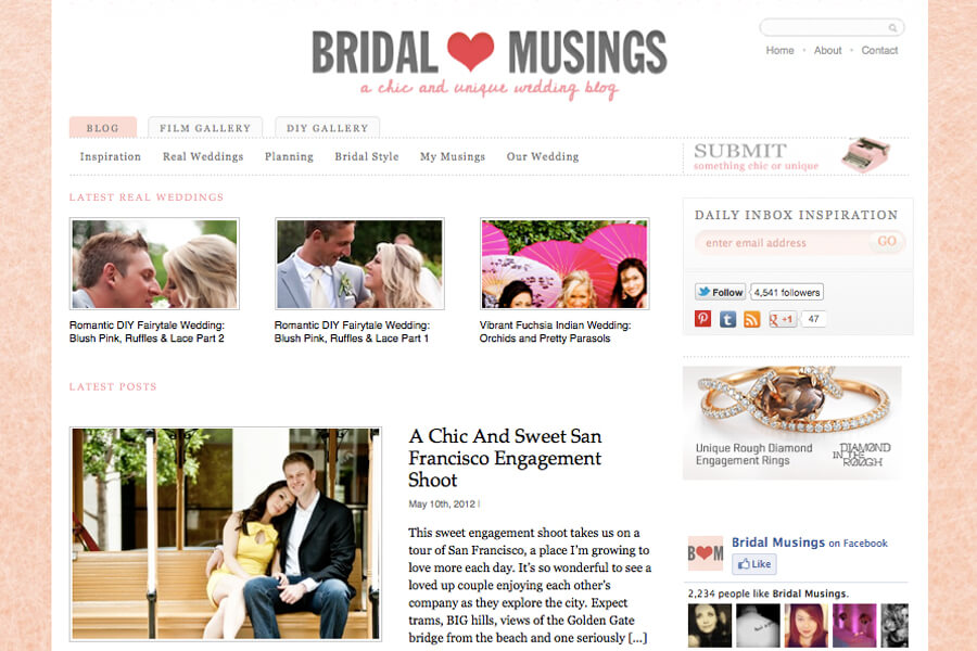Featured on Bridal Musings.