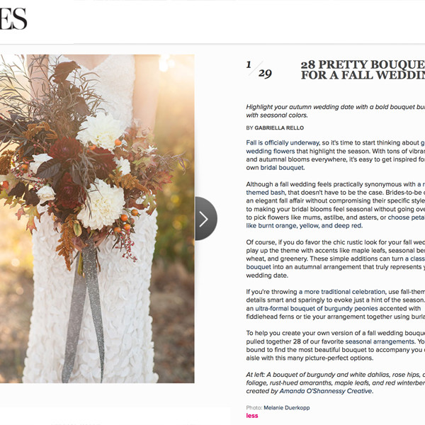 Featured on Brides.com Seasonal Bouquets